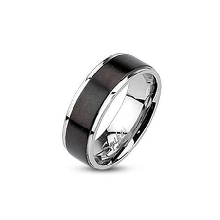 Bague anneau pour femme acier et noir
