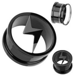 piercing tunnel éclaire noir en acier inoxydable