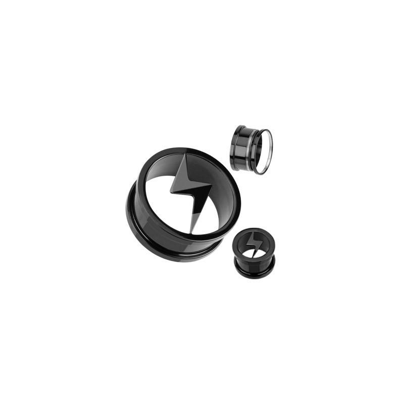 piercing Plug éclaire noir en acier inoxydable