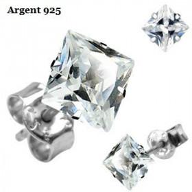 paires de Boucle d'Oreille pour homme en Argent massif 925 cristal Carré