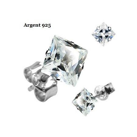 Boucle d'Oreille Argent cristal Carré