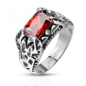 Bague chevalière emblème royal Acier fleur de lis rubis rouge