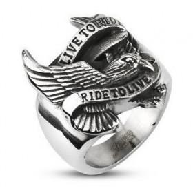 Bague bicker homme en acier chirurgical Live to Ride en acier aigle Américain