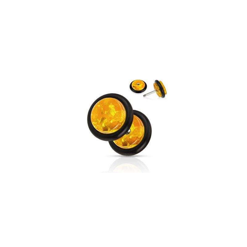 Piercing faux écarteur illusion plug pour oreille en ambre synthétique