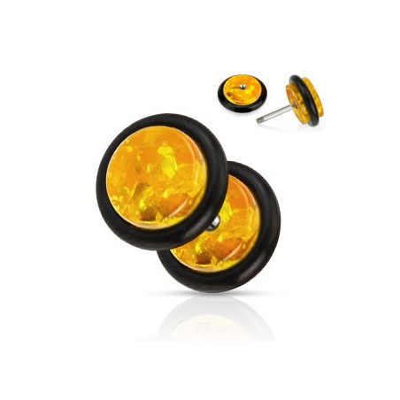 Piercing faux écarteur en ambre