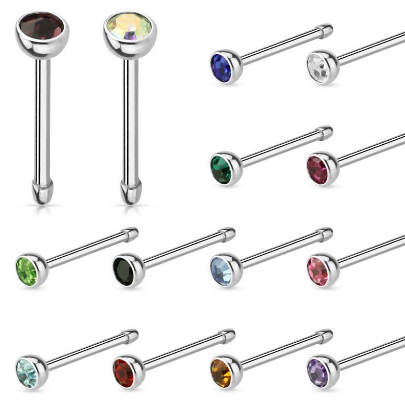 Piercing stud nez tige droite en acier chirurgical avec cristal de 2 mm