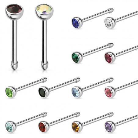 Piercing nez tige droite acier cristal 2 mm