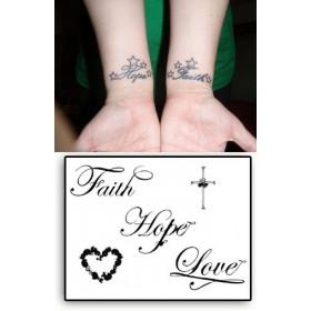Tatouages Temporaires Faith Hope Love