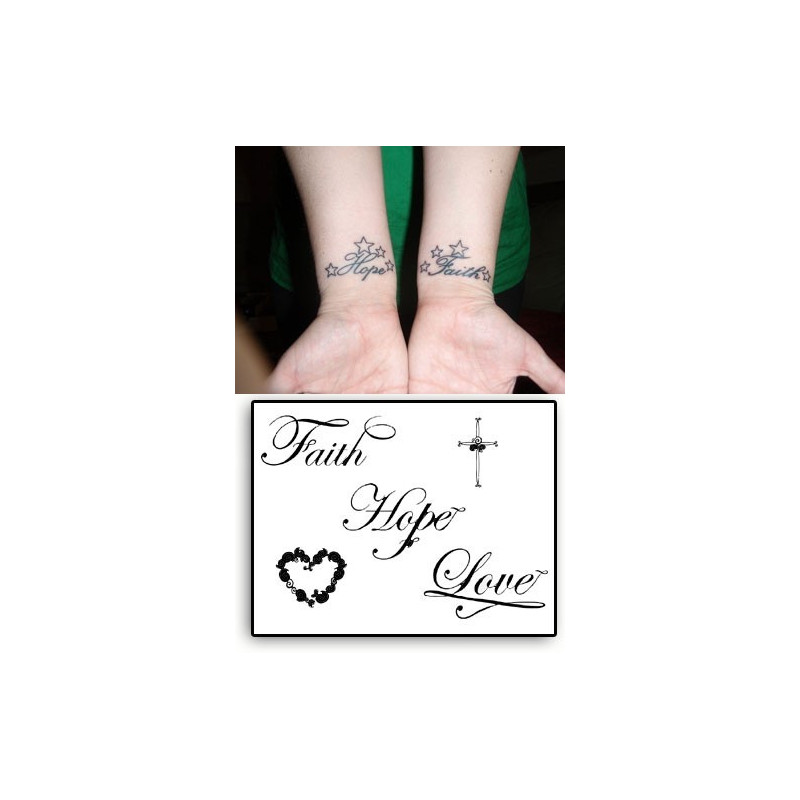 Tatouages Temporaires Faith Hope Love