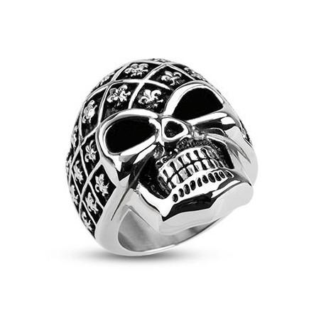 Bague Acier inoxydable Skull Fleur de lys