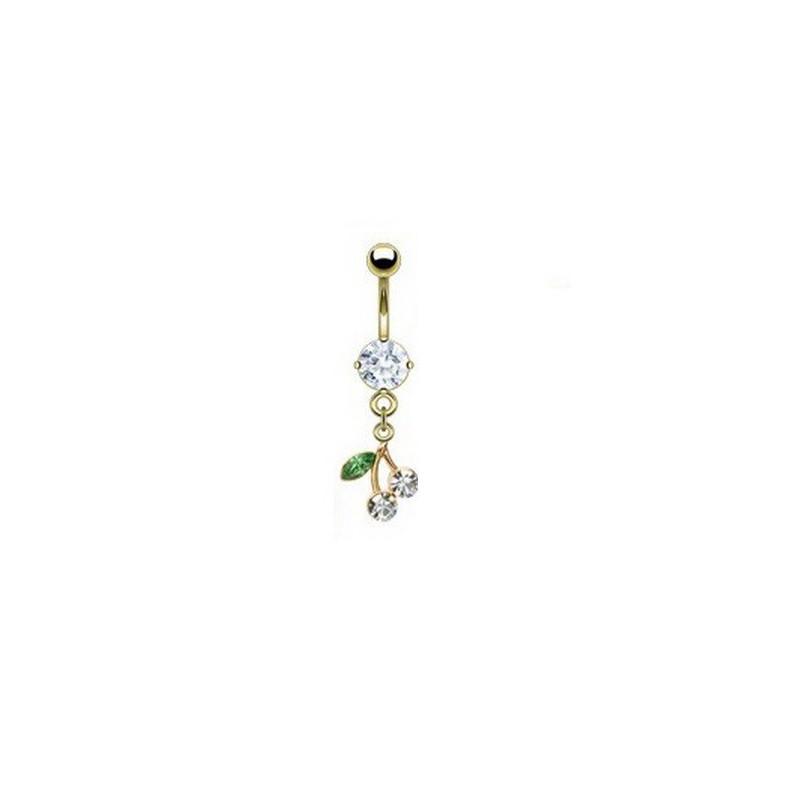 Piercing nombril plaqué or pendentif cerise articulé strass Blanc