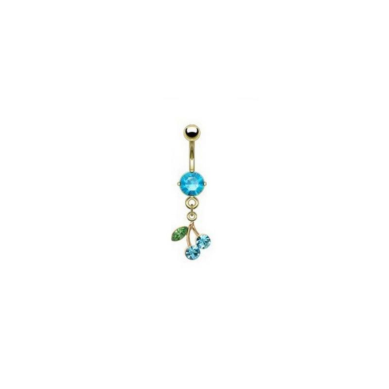 Piercing nombril plaqué or pendentif cerise articulé strass Bleu