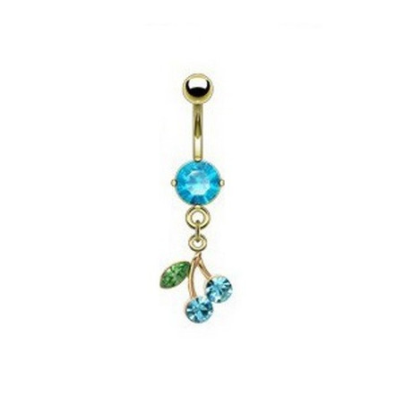 Piercing nombril plaqué or cerise strass Bleu