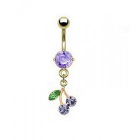 Piercing nombril plaqué or pendentif cerise articulé strass violet