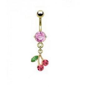 Piercing nombril plaqué or pendentif cerise articulé strass rose