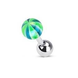 Piercing oreille bille Candy Bleu et vert