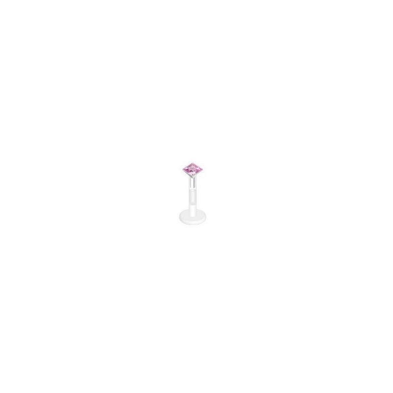 piercing labret bioflex teflon avec cristal de 2mm couleur rose carré