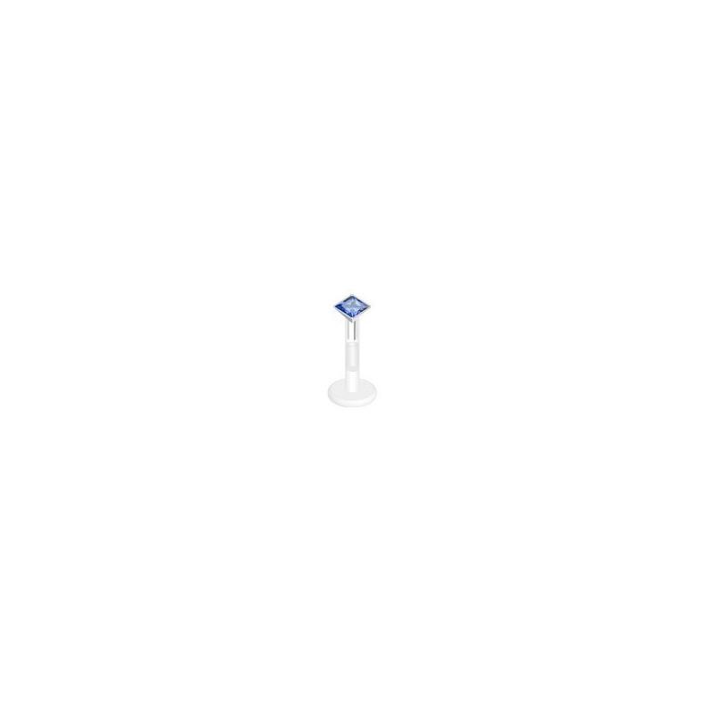 piercing labret bioflex teflon avec cristal de 3mm couleur Bleu carré