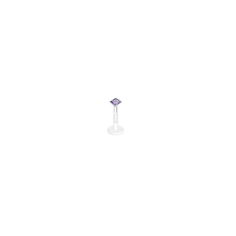 piercing labret bioflex teflon avec cristal de 3mm couleur violet carré