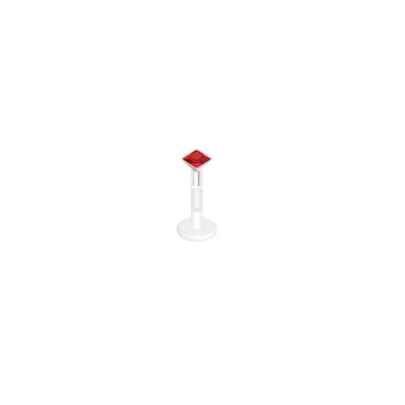piercing labret bioflex teflon avec cristal de 3 mm couleur rouge carré