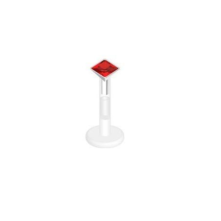 piercing labret bioflex cristal rouge carré