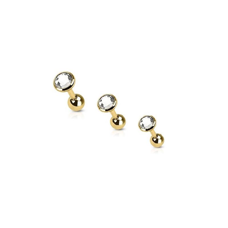 piercing oreille acier dor cristal rond tarawa piercing. Black Bedroom Furniture Sets. Home Design Ideas