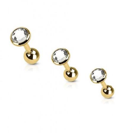 Piercing oreille acier doré cristal rond