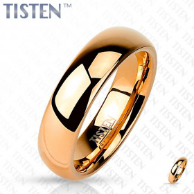 Bague anneau pour femme effet miroir couleur or rose en acier inoxydable Tisten 4 mm