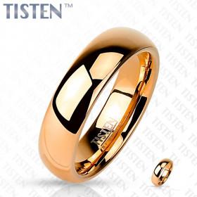 Bague anneau large pour femme effet miroir couleur or rose en acier inoxydable Tisten 6 mm