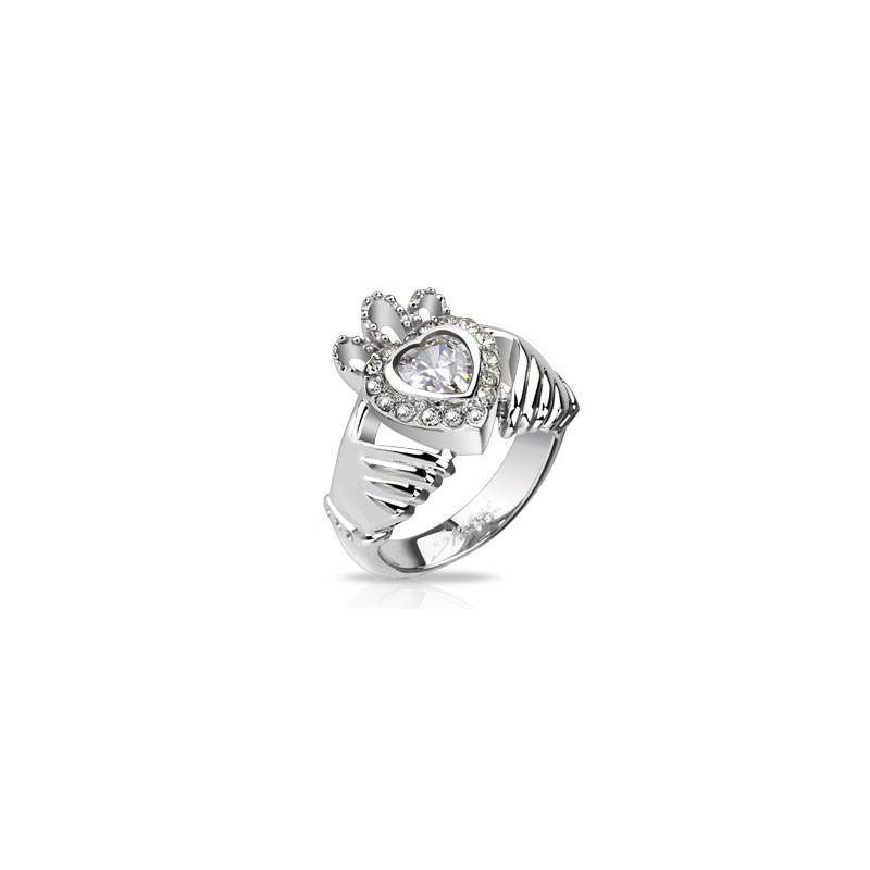 Bague de Claddagh pour femme en acier inoxydable motif coeur couronne et main