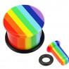 Piercing plug écrateur oreille en acrylique couleur Gay pride arc en ciel