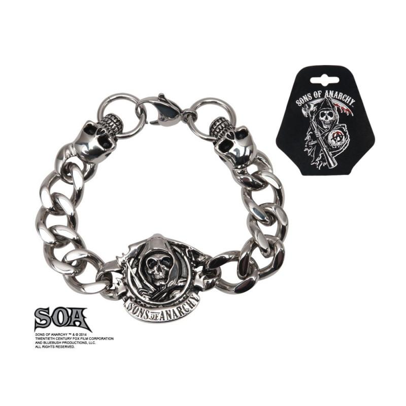 Bracelet homme Skull motif tête de mort en acier inoxydable marque Sons of Anarchy logo Reaper