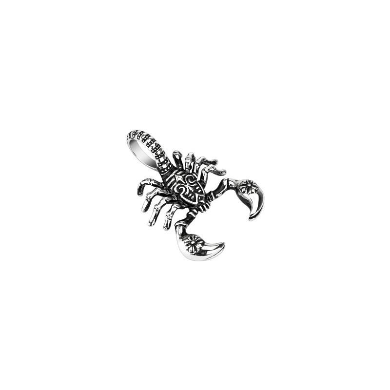 Pendentif homme en acier chirurgical motif scorpion massif
