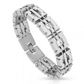 Bracelet homme en acier chirurgical inoxyable large mailles de qualité