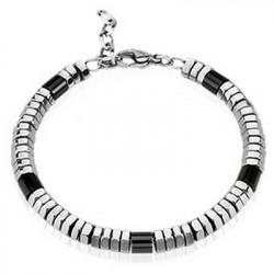 Bracelet homme Perles acier inoxydable