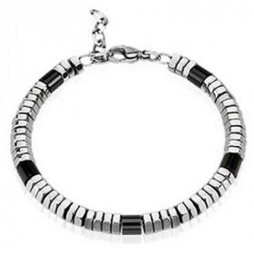 Bracelet pour homme Perles acier inoxydable bicolore noir et acier