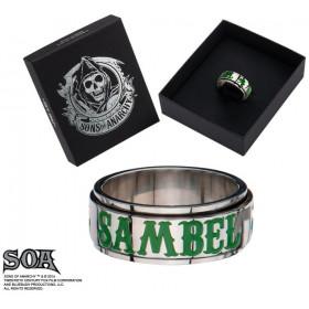 Bague anneau tournant pour homme marque Sons of Anarchy inscription SAMBEL