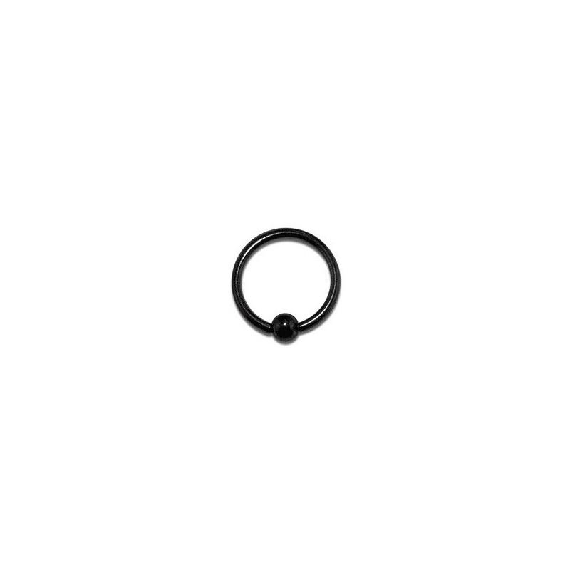 Piercing anneau 1.2 mm en titane de couleur noir avec bille 3 mm
