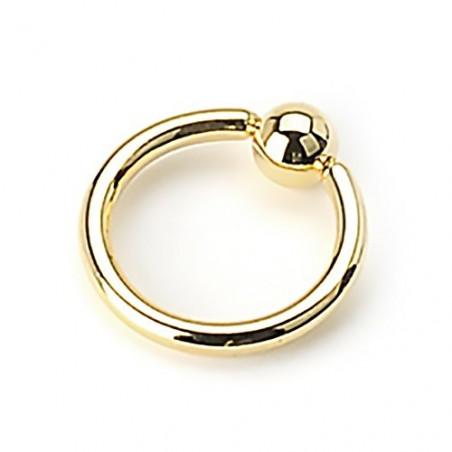 Piercing anneau 1.2 mm en titane doré bille 3 mm