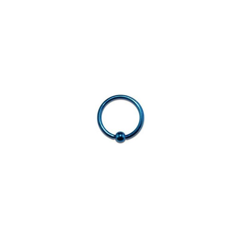 Piercing anneau 1.2 mm en titane anodisé de couleur bleu avec bille 3 mm