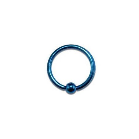 Piercing anneau 1.2 mm en titane bleu bille 3 mm