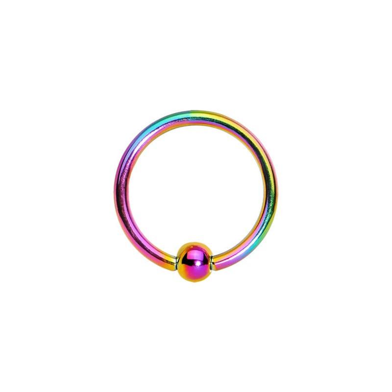 Piercing anneau 1.2 mm en titane anodisé fioul de couleur essence avec bille 3 mm pour cartilage et hélix