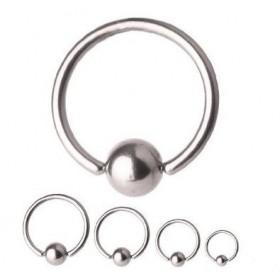 Piercing anneau 1.2 mm en titane gris avec bille 3 mm pour cartilage et hélix