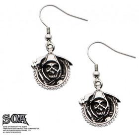Boucles d'oreille pendante en acier chirurgical marque Sons of Anarchy motif focheuse grim Reaper