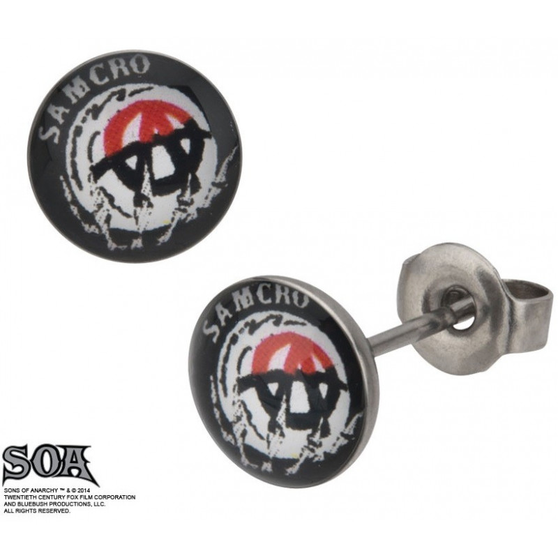 Boucles d'oreille acier inoxydable Grim Reaper marque Sons of Anarchy pour homme et femme