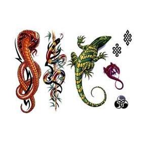Tatouages autocollants Lezard et Serpent
