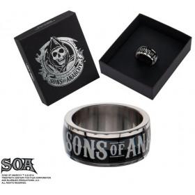 Bague anneau acier et noir marque Sons of Anarchy en acier inoxydable