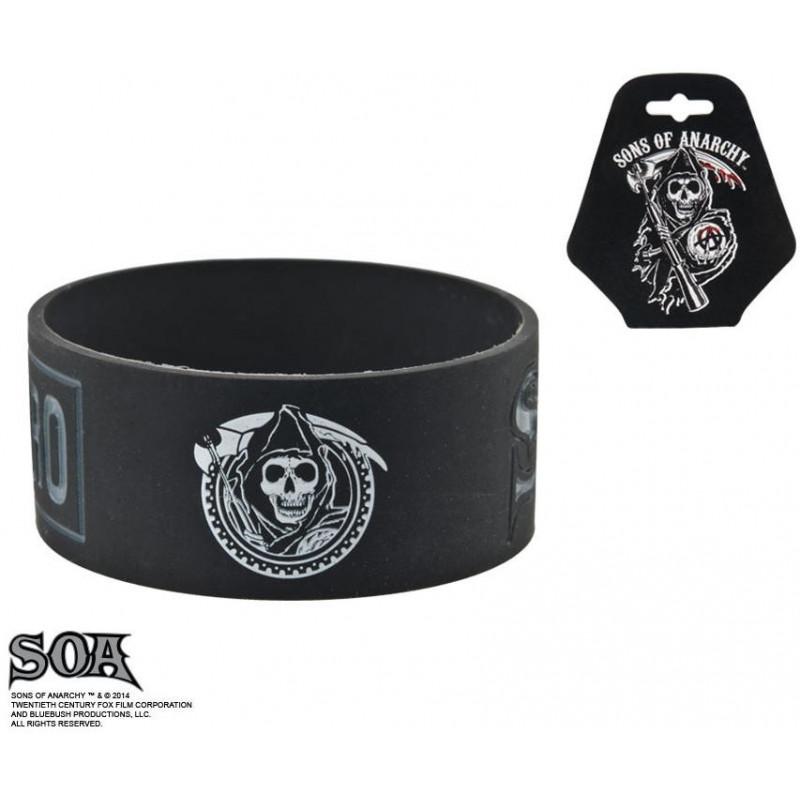 Bracelet noir et gris pour homme en silicone marque Sons of Anarchy inscription Samcro