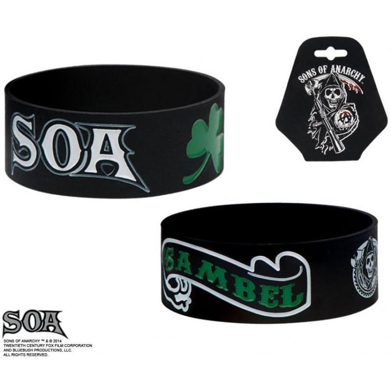 Bracelet noir pour homme en silicone Sons of anarchy Sambel