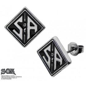 Boucle d'oreille homme forme carré marque Sons of Anarchy en acier chirurgical bijou moratd